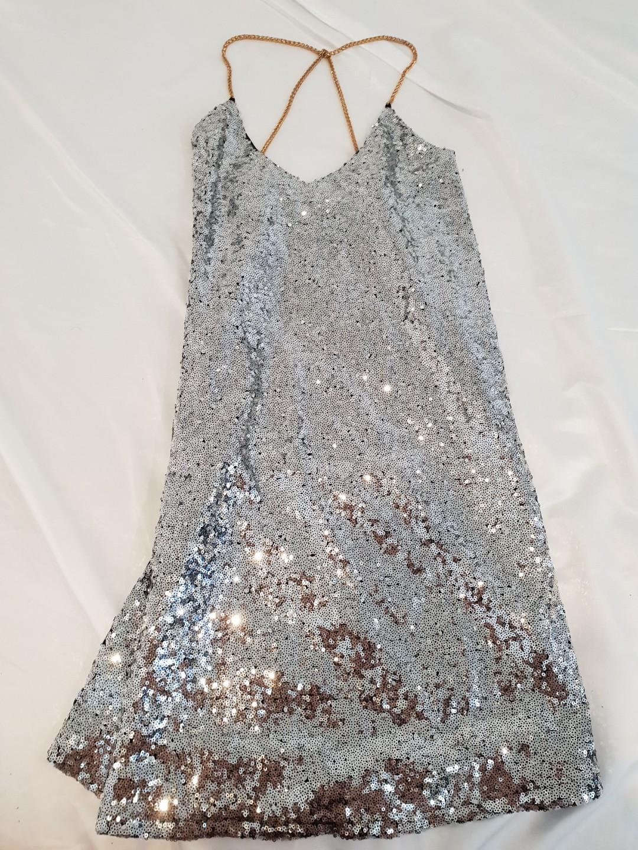 Pretty Little Thing Sequin Shift Dress chain strap