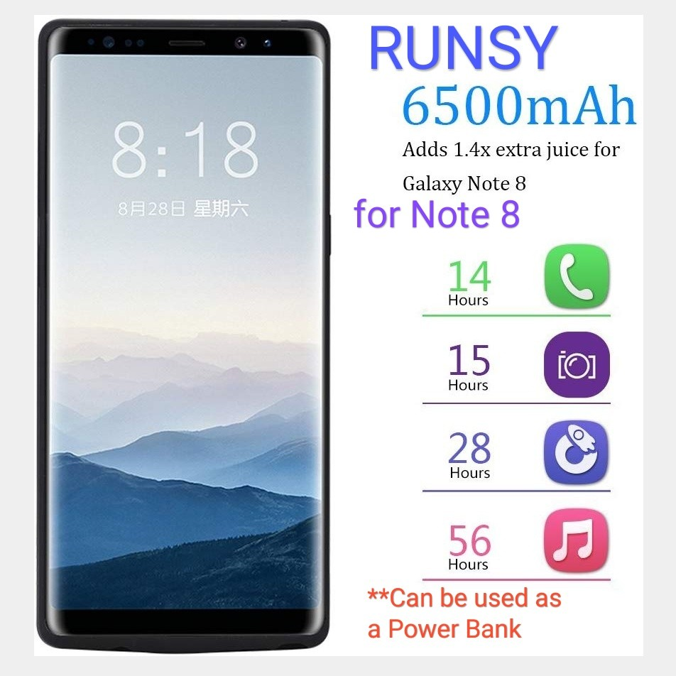big sale 7e962 4ee69 RUNSY Samsung Galaxy Note 8 Battery Case, 6500mAh Rechargeable Extended  Battery Charging Case, External Battery Charger Case, Backup Power Bank  Case ...