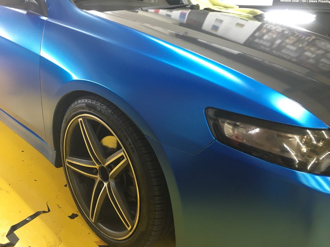 Satin Blue Full Car Wrap Car Accessories Accessories On Carousell