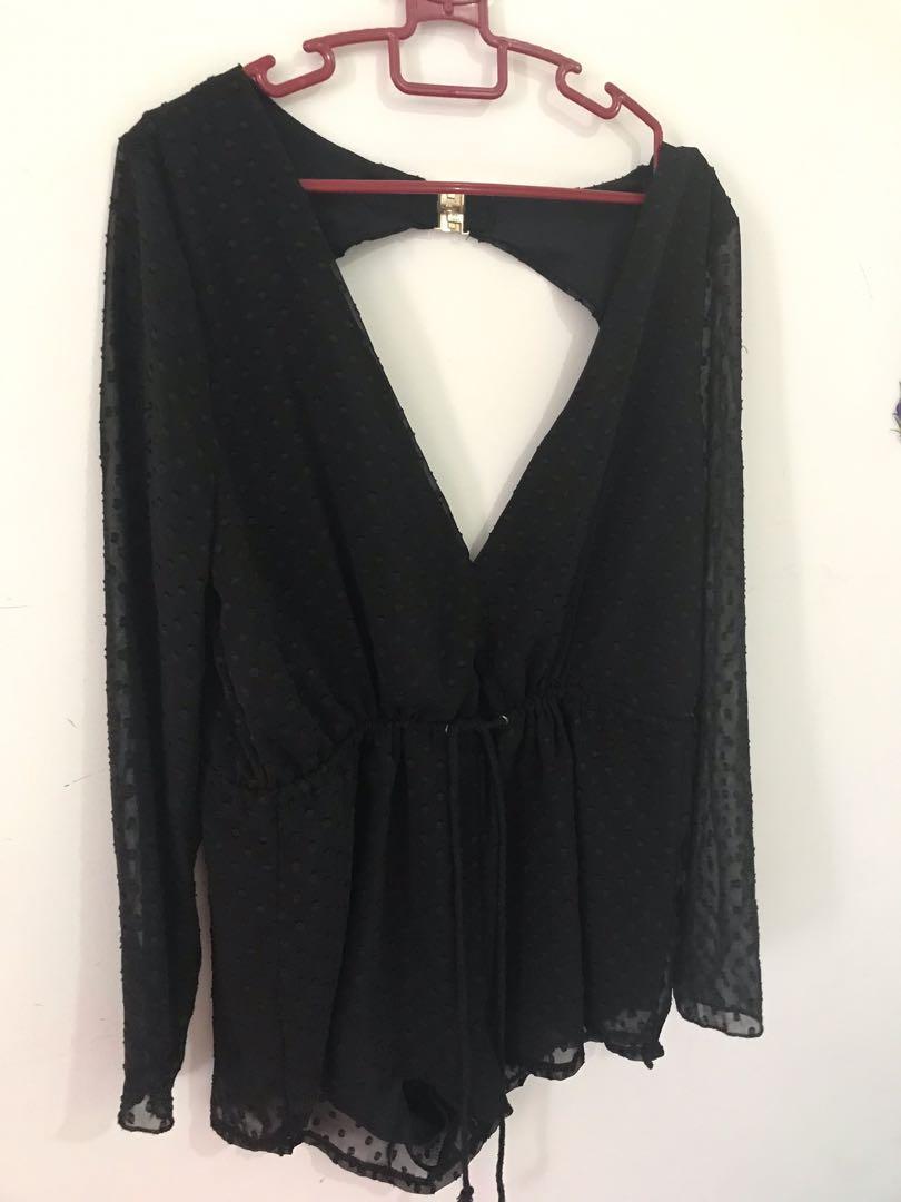 Sexy back jumpsuit black