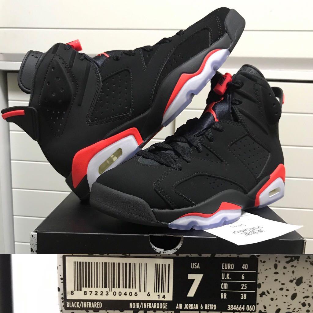 "best cheap 22961 1fbce 全新US7) Air Jordan 6 VI Retro ""Black Infrared"" Nike eur40 有收據 ..."