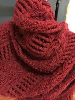 🚚 酒紅 流蘇圍巾披肩
