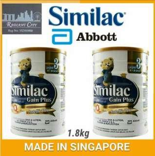 🚚 PROMOTION Similac Gain Plus IQ Stage 3 Milk Powder 1.8kg (For 1-3yrs) INCLUDING FREE DELIVERY Made in Singapore 🇸🇬 for Malaysia 🇲 INCLUDING FREE DELIVERY