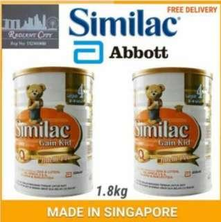 🚚 PROMOTION Similac Gain Kid IQStage 4 Milk Powder 1.8kg (For 4-9yrs) BUNDLE OF 2 $100  MADE IN SINGAPORE FOR MALAYSIA INCLUDING ISLANDWIDE FREE DELIVERY