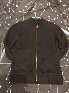 無印良品羊毛black zip up sweater