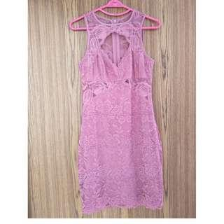 GUESS deep rose color sexy lace dress