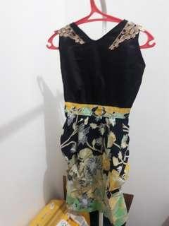 (200 DAPET 3) Black Batik Satin Dress