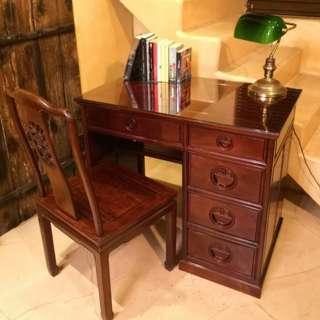 緬甸花梨書檯(有䕶面玻璃)+花梨椅