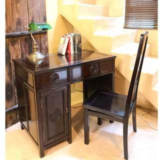 罕有3尺小巧花梨電腦書檯+花梨椅