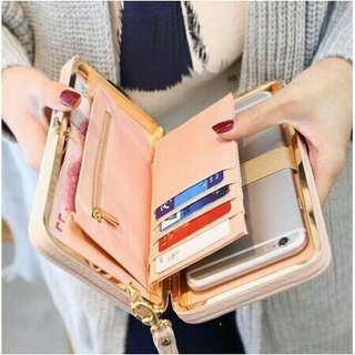 Women ladies leather wallet button clutch purse lady long purse wallet - Black #APR75