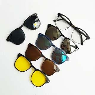 🚚 🆒🆕 Spectacle Frame with 5 Pcs Clip On Sunglasses Women Men Polarized Magnetic Glasses Set Myopia Optical