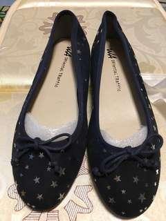 Oriental Traffic 深藍色 銀星星 平底鞋 日本品牌