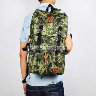 Tas Ransel sekolah pria wanita laptop Adio Army 16061 - Hijau