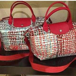 Longchamp polka dot red