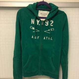 A&F Hoodie green with zipper