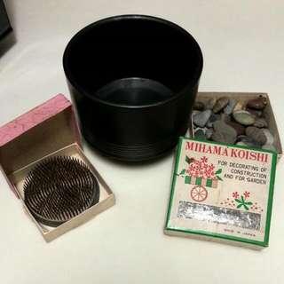 1970s Japanese Ikebana Floral Arrangement Items