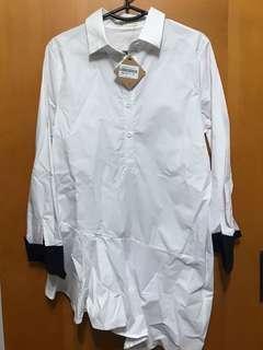 簡約白色長恤衫