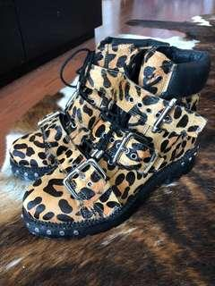 Topshop Leopard Pony Hair Buckle Boots