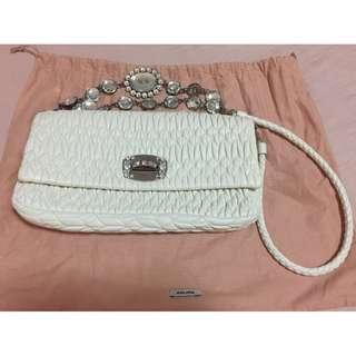 Miu Miu white leather handbag