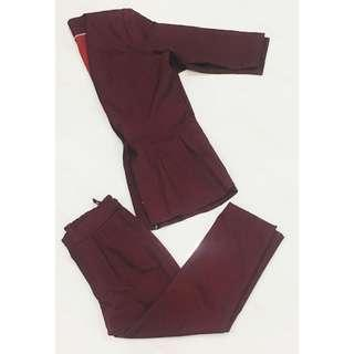 Maroon Red Suit Pants