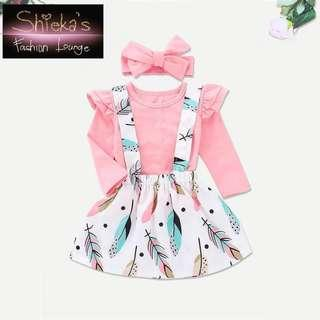 Girls 3 Piece Set Long Sleeve + Skirt with adjustable strap + pink headband
