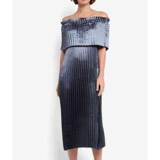 Shimmery Off-Shoulder Pleated Dress