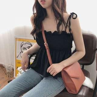 Yellow smoked scrunched camisole top