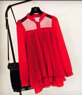 🚚 女雪紡長袖襯衫(均碼)最夯的顏色、性感肩部設計與百摺上身多層次,值得推薦!