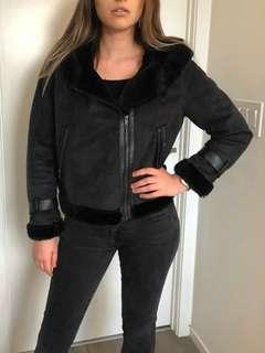 Sherling black faux far motor jacket