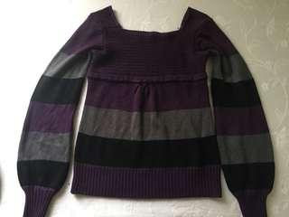 Purple striped knit sweater