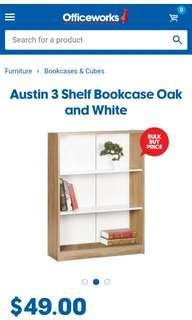 Oak and white bookshelf