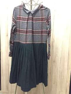 Long Dress - Classic Old School Checker print with Dark Green bottom
