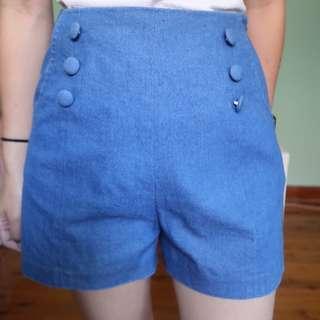 High waisted shorts - blue