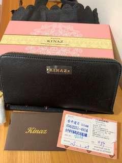 🚚 KINZA ㄇ字型 長夾 黑色 流蘇 愛心 鑽 全新 有購買卡 保證卡 防塵袋