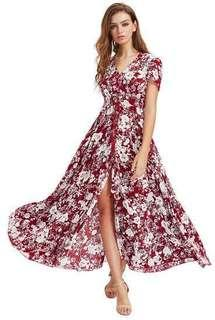 Millumia Women's Red Button Up Split Floral Print Flowy Party Maxi Dress