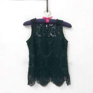 Green Lace Sleeveless Top