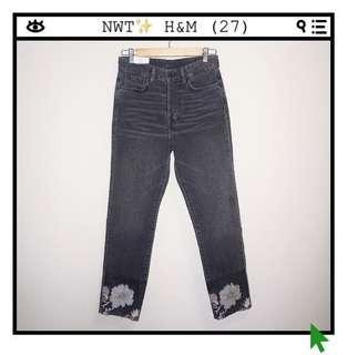 *NWT✨* H&M Vintage Fit High-Waist Jeans with Embroidery Details Women Size 27