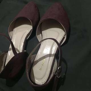 flatshoes sepatu maroon size 40