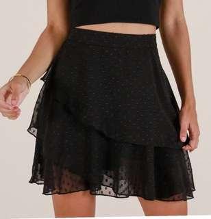 Black Embroidered Polka Skirt Skirt