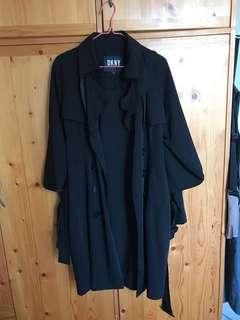 全新女裝黑色長風衣外套