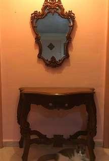 🚚 Wooden mirror & table set