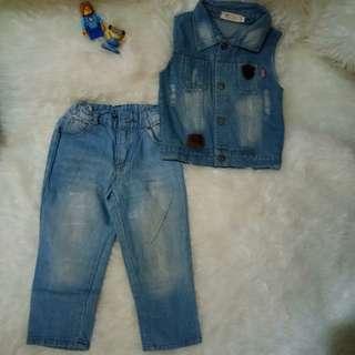Set denim anak, rompi dan celana