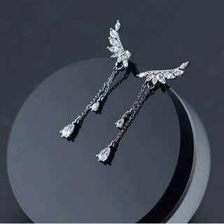 🚚 Angel wings drop earrings - Korean - Minimalist - S925 - Sterling Silver