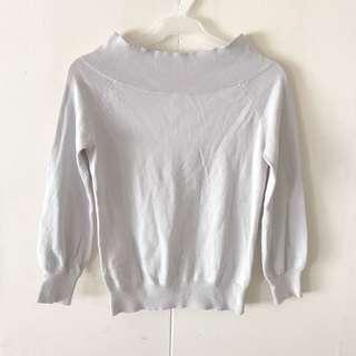 Gray Off-Shoulder Pullover / Top