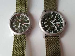 Seiko sport automatic stainless steel watch with khaki green canvas