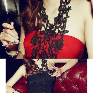 Red Halter Lace Dress