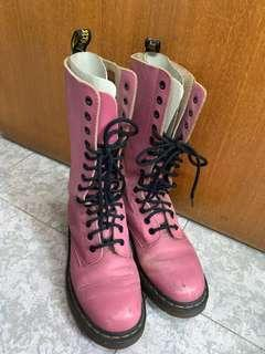 Dr Martens Pink Vintage Leather Boots (Size 38) 粉紅色復古真皮高筒靴