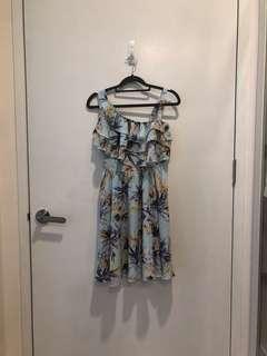 🚚 BN YOCO Floral Print Light Green Blue Dress