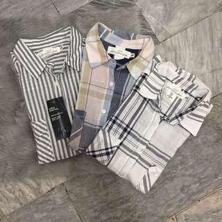 H&M Plaid Shortsleeved Linen Polo