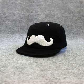 Topi Flat Cap Fixie Mustache Black Second Original Murah